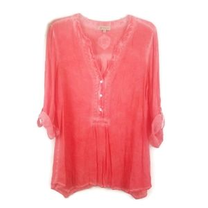 Democracy Coral Roll Tab Sleeve Top M